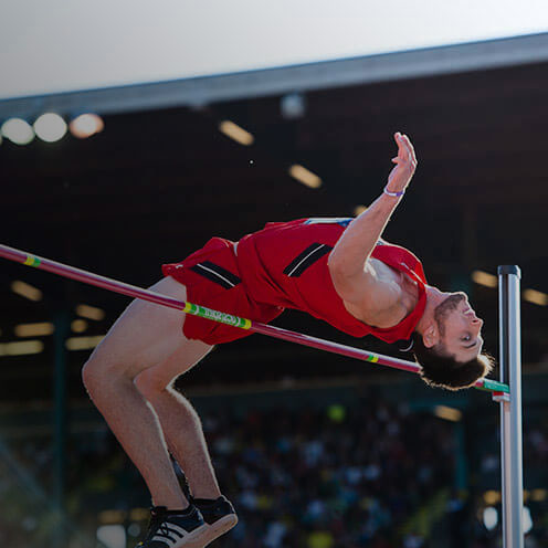 Texas Tech Red Raider Jacorian Duffield clearing another jump at the NCAA Outdoor Championships.